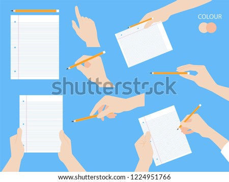 Set of human hands with different gestures collection for design, animation,Palm and finger draw icons, skin, white Long sleeved shirt, arm on blue background, flat style cartoon vector illustration.
