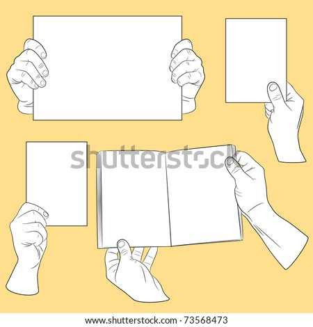 Set of human hands with paper(vector, CMYK)