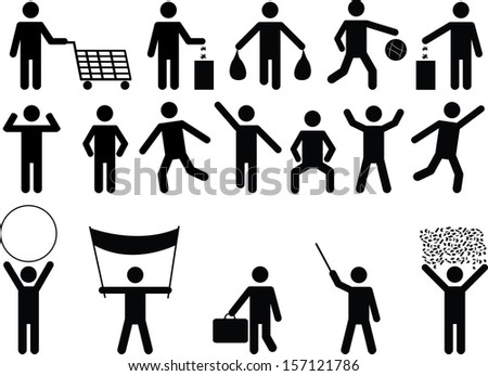 Set of human pictograms with different objects and activity  illustrated on white background