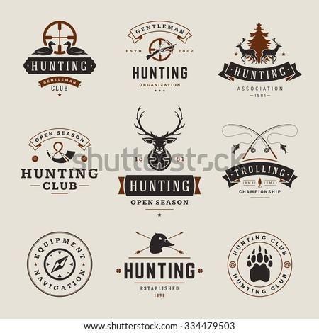 set of hunting and fishing