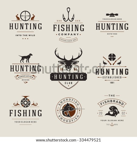 set of hunting and fishing