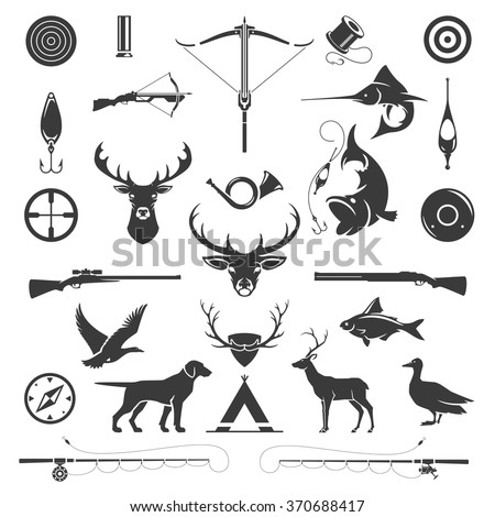 Shutterstock Set of Hunting and Fishing Objects Vector Design Elements Vintage Style. Deer head, hunter weapons, forest wild animals isolated on white. Deer Silhouette, Fish Silhouette, Riffle Silhouette.