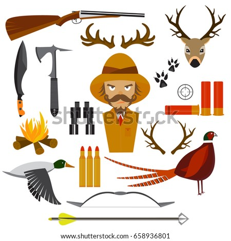 set of hunting equipmentvector