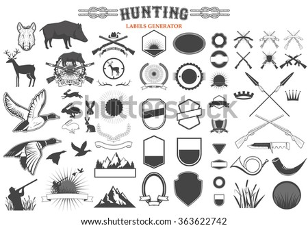 set of hunting label and badges