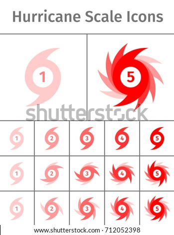 set of hurricane scale icons