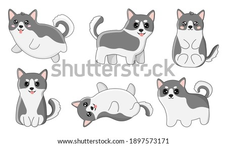 set of husky in cartoon  style