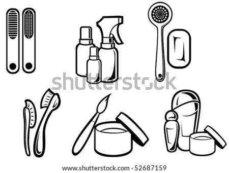 Set of hygiene and cosmetics for design isolated on white. jpeg version also available in gallery