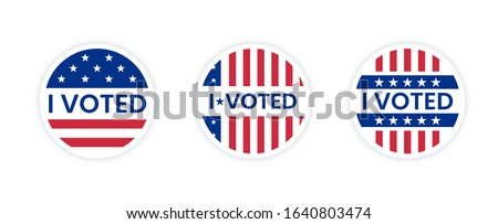 Set of I voted stickers with us american flag. Circle vote sticker or label. US, USA, american election, voting sign. I voted quote. Responsible voting badge or pin. vector illustration