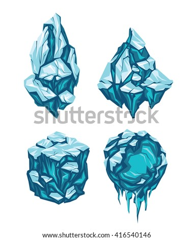 set of ice blocks in form of