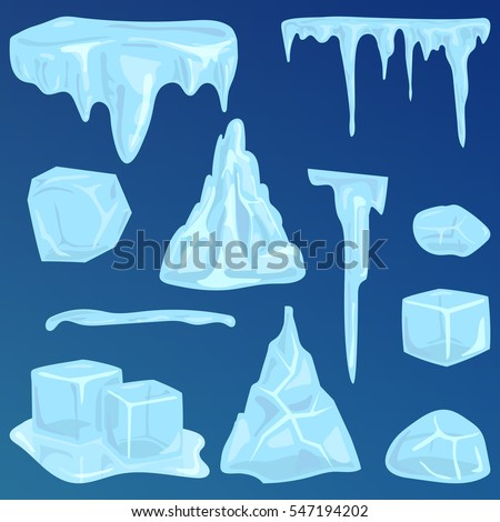 set of ice caps snowdrifts and