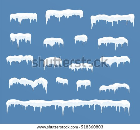 Set of ice caps. Snowdrifts, icicles, elements winter decor.