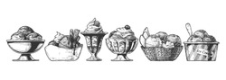 Set of Ice Cream served in different bowl: steel, ceramic, glass, waffle and paper bowls. Vector hand drawn illustration in vintage engraved style. Isolated on white background.