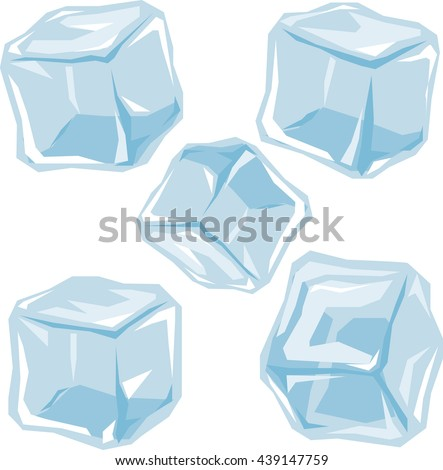 set of ice cubes origami style