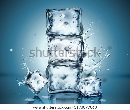 set of ice cubes with