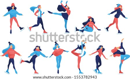 Set of Ice figure skating graceful girls in beautiful poses.  Winter sports activity figure ice skating illustrations — women sillhoettes on ice rink set isolated on white background - Vector