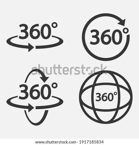 Set of 360 Icon. 360 degree view symbol. Vector illustration. Eps 10.