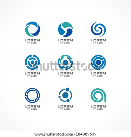Set of icon design elements. Abstract logo ideas for business company, finance, communication, technology, science and medical concepts.  Pictograms for corporate identity template.Vector Illustration