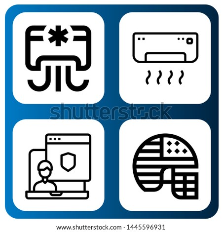 Set of icon set icons such as Air conditioner, Administrator, Football helmet , icon set