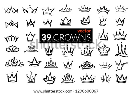 Set of iconic hand drawn crowns. Luxury collection of inky black outline symbols of leadership, success, power and riches or wealth. Isolated elements for branding and identity.