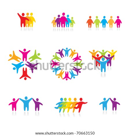 set of icons - a successful team - stock vector