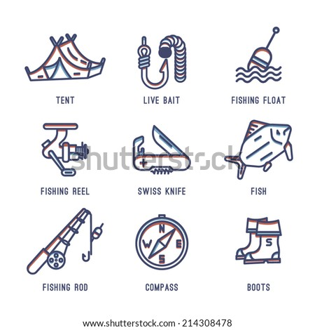 Set of icons about fishing.Fish, fishing rod, hook, compass,Swiss army knife, float fishing, tent, boots, reel fishing, the worm,bait.