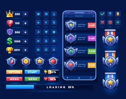 Set of icons and awards for mobile game. space icons and buttons on dark isolated background.For game, user interface, banner, application, interface, slots, game development.