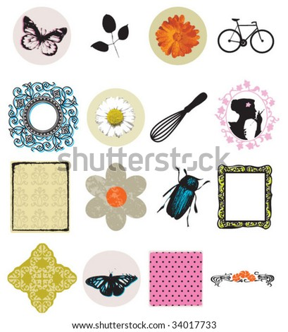 set of icons and objects