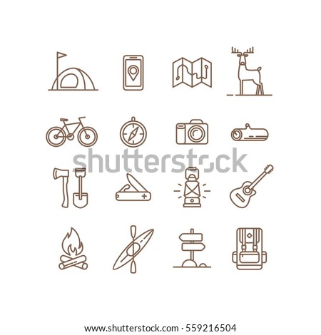 Set of icons and symbols for camping, hiking and outdoor recreation.. Vector illustration.