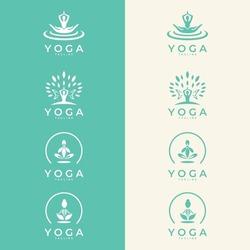 Set of icons and symbols for spa center or yoga studio. Meditation symbol. Zen harmony balance sign. Vector illustration.