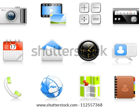 Set of 12 icons (app interface/web etc.) Fully editable vector graphics.