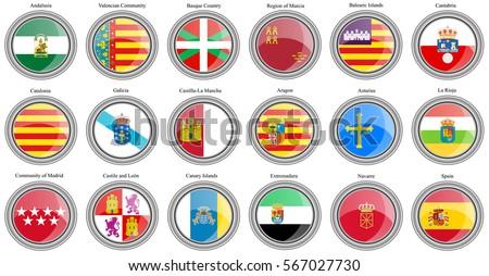 Shutterstock Set of icons. Autonomous communities of Spain flags. Vector.