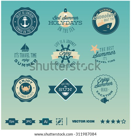 set of icons, badges and labels summer vintage design