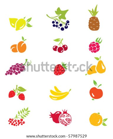set of icons - berries and fruits