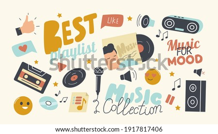 Set of Icons Best Playlist for Music Collection Theme. Hand Thumb Up Gesture, Vinyl and Cd Disk, Dynamics and Record Player with Tape or Microphone and Smiling Emoji. Cartoon Vector Illustration Stock photo ©