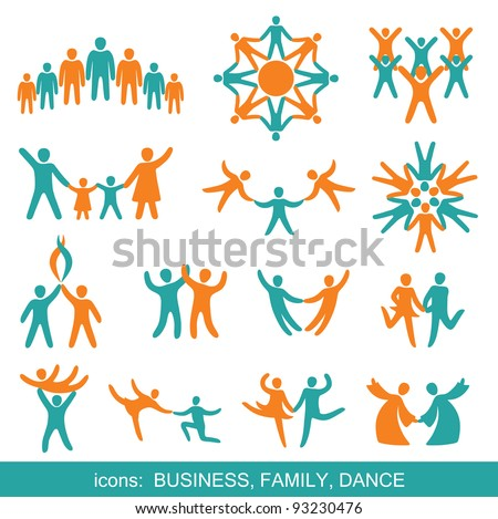 Set of icons: Business, Family, Dance.