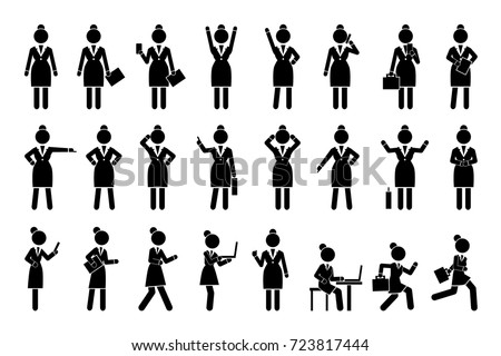 Set of icons business woman activities silhouettes, such as talking on phone, checking emails on laptop, hurrying up and working vector illustration