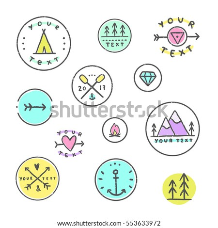 set of icons camping  tribal