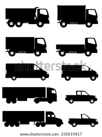set of icons cars and truck for