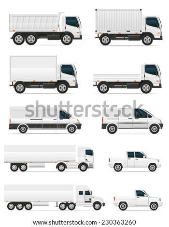 set of icons cars and truck for transportation cargo vector illustration isolated on white background