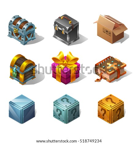 Set of icons cartoon isometric boxes and objects for game. Vector illustration on white background.