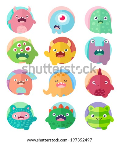 Set of icons cute cartoon 12 monsters in circles with positive emotions faces