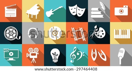 set of icons dedicated to arts