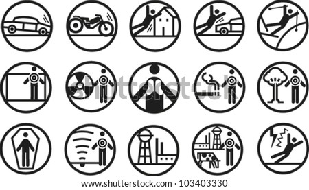 Set of icons depicting accidents, hazards, danger and risk