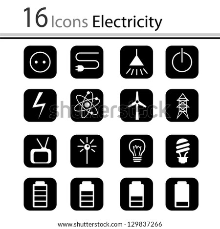 Set of icons electricity (vector)