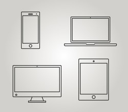 Set of icons electronic devices with white blank screens. smartphone, tablet, PC, laptop