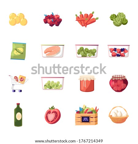 Set of Icons Farm Products Fresh Fruit, Vegetable and Eggs, Raw Fish and Frozen Veggies. Berries Jam in Glass Jar, Lemons and Carrot with Cabbage. Broccoli, Tomato and Oil. Cartoon Vector Illustration Foto stock ©