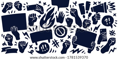Set of icons featuring raised up fists, hands holding banners, taking photos, angry speech bubbles. Protest, demonstration, manifestation themed concept background. Vector illustration. ストックフォト ©