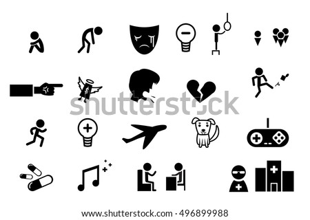 set of icons for depression