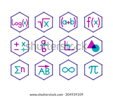 Set of 12 icons for different direction of math. Trendy transparent style.