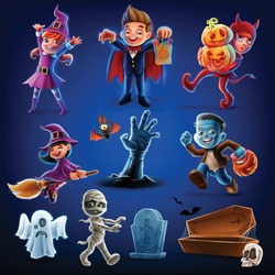 set of icons for halloween with children